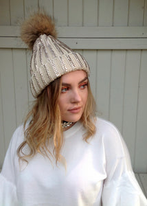 Florence Knitted Diamonte Real Fur Bobble Hat in Caramel