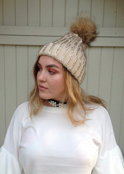 Florence Knitted Diamonte Real Fur Bobble Hat in Caramel - Feathers Of Italy