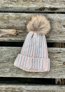 Florence Knitted Diamonte Real Fur Bobble Hat in Pink - Feathers Of Italy