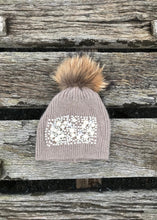 Load image into Gallery viewer, Pearls and Diamonds Knitted Real Fur Bobble Hat in Mocha - Feathers Of Italy