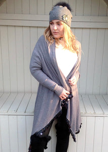 Julietta Super Lux Cardigan Coat With Seqined Trimmed Edge in Grey - Feathers Of Italy