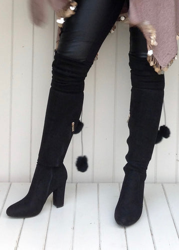 The Knightsbridge High Boot Over The Knee With Fur Pom Pom Detail In Black - Feathers Of Italy