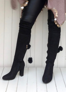 The Knightsbridge High winter boot over the knee with fur pom pom detail in Black - Feathers Of Italy