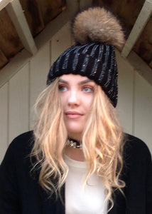 Florence Knitted Diamonte Real Fur Bobble Hat in Black with black Diamonds - Feathers Of Italy