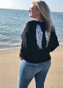 Limited Edition Angora Angels Batwing Jumper In Black Made In Italy By Feathers Of Italy - Feathers Of Italy