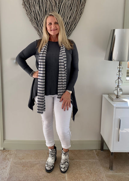 Henley Jersey Scarf in Navy & Grey - Feathers Of Italy