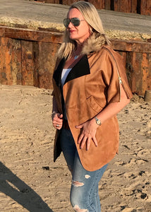 Suedette Positana Jacket in Caramel with Zip Detail and Fur Trim Hood By Feathers Of italy One Size - Feathers Of Italy