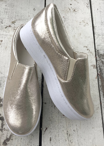 Venice Flatform Trainer in Gold Metallic - Feathers Of Italy