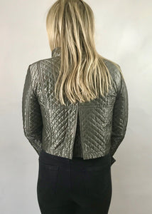 BURBERRY PEWTER Ladies QUILTED SATIN CROPPED JACKET UK 8 - Feathers Of Italy