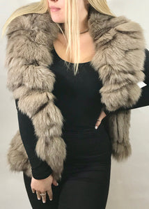 Luxury Fur Gilet in Mocha - Feathers Of Italy