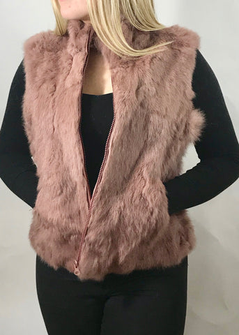 Fur Gilet in pink by Feathers Of Italy