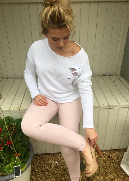 Slouchy Sweat Pants in Pink - Feathers Of Italy