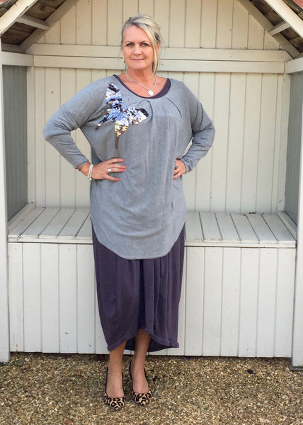 Butterfly Sequined Jumper in Grey