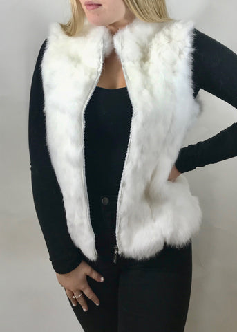 Fur Gilet in Snow White by Feathers Of Italy