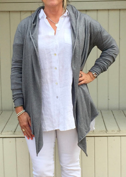 Barola Hooded Wrap in Grey Marl - Feathers Of Italy