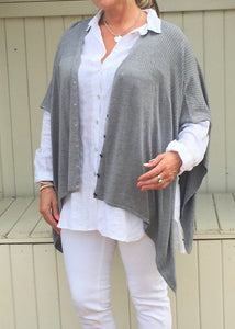 Santa Christina Button Poncho in Grey - Feathers Of Italy