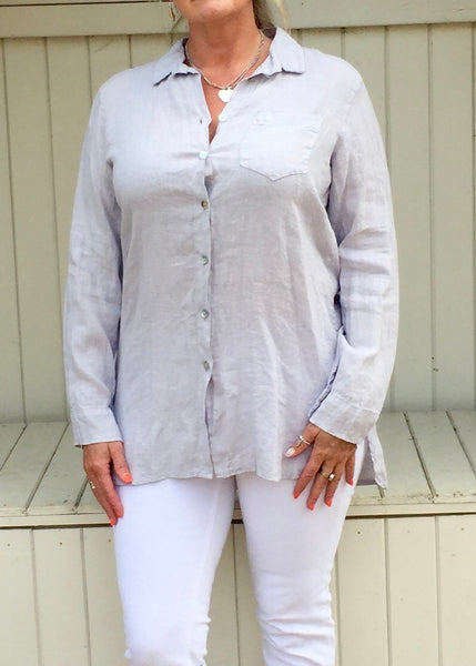 Linen Shirt in Silver - Feathers Of Italy