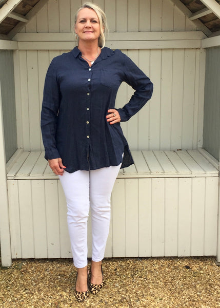 Linen Shirt in Navy - Feathers Of Italy