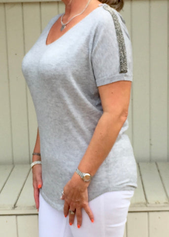 Positano Glitzy Top in Grey