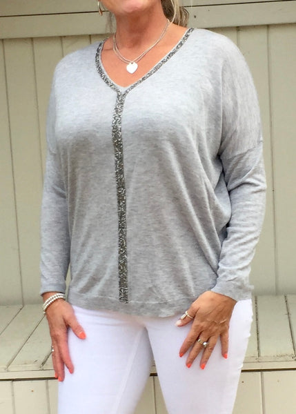 Positano Glitzy Long Sleeved Jumper in Grey - Feathers Of Italy