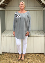 Load image into Gallery viewer, Butterfly Sequined Jumper in Grey - Feathers Of Italy