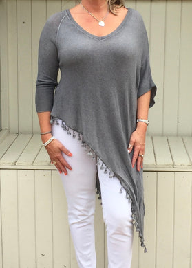 Side Detail Bobble Top Washed Grey - Feathers Of Italy