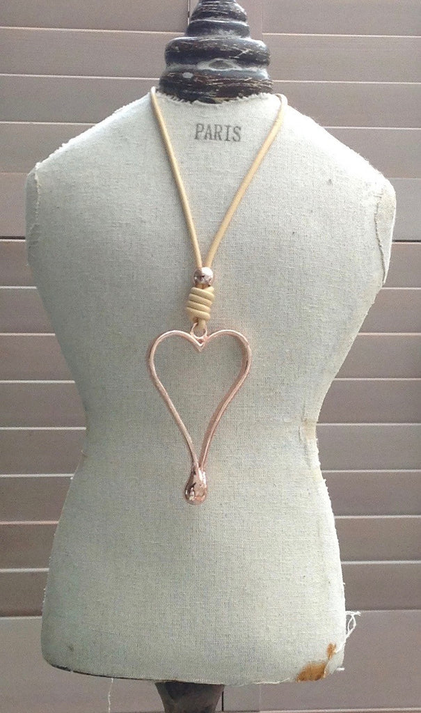 Large Heart Pendant in Rose Gold - Feathers Of Italy