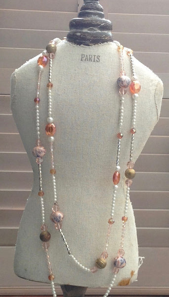 Florence Extra Long Necklace in Pink - Feathers Of Italy