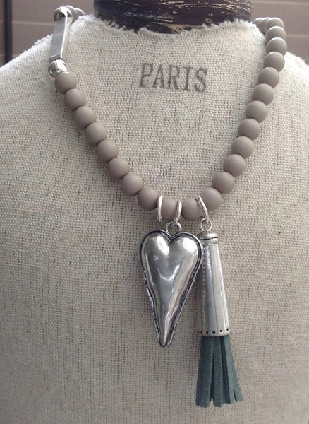 Heart, Tassel & Ball Necklace in Silver & Grey - Feathers Of Italy