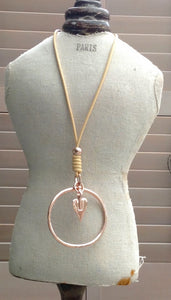 Rose Gold Pendant Necklace with Heart & Hoop - Feathers Of Italy