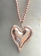 Load image into Gallery viewer, Rose Gold Pendant Necklace with Beads & Chunky Heart - Feathers Of Italy