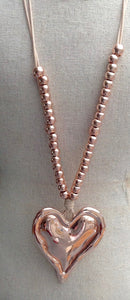 Rose Gold Pendant Necklace with Beads & Chunky Heart - Feathers Of Italy