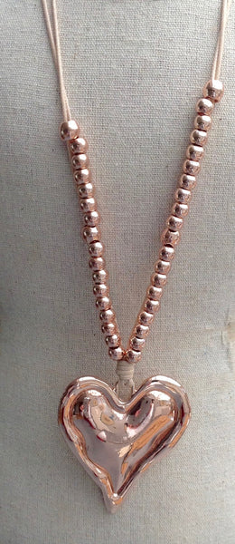 Rose Gold Pendant Necklace with Beads & Chunky Heart