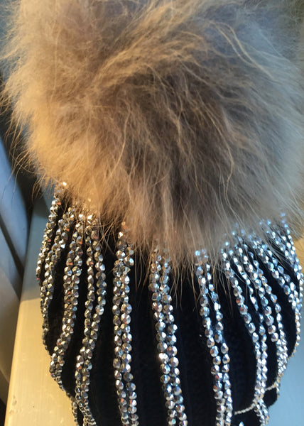 Florence Knitted Diamonte Real Fur Bobble Hat in Black with Silver Diamonds