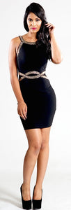 Little Black Dress with Sequinned Detail in Black And Gold - Feathers Of Italy