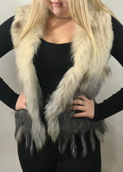 Luxury Coney Fur stunning Two Tone short Fur Gilet with bottom edge detail by Feathers Of Italy One Size - Feathers Of Italy