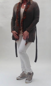 100% Cashmere & Ostrich Feather Trim Coat in Olive - Feathers Of Italy