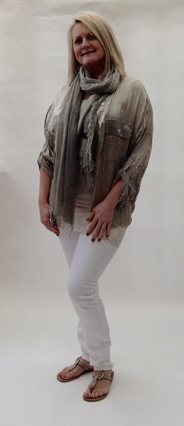 Milan Silk and Sequin Crinkle Silk Shirt in Mocha Made In Italy By Feathers Of Italy - Feathers Of Italy