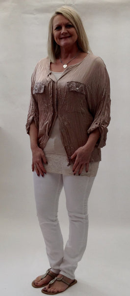 Milan Silk and Sequin Crinkle Shirt in Pink Made In Italy By Feathers Of Italy One Size - Feathers Of Italy