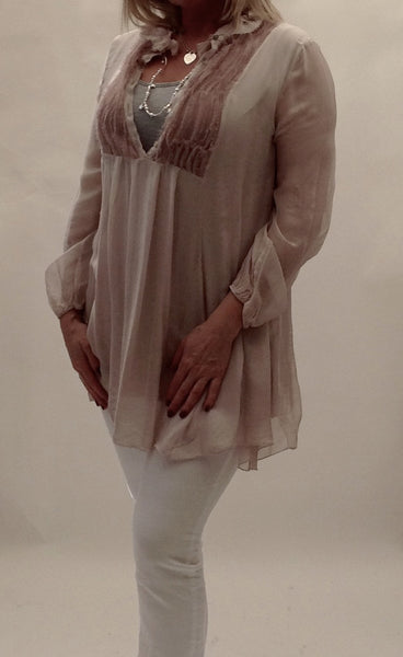 Livorno Silky Ruffle Shirt in Pink - Feathers Of Italy