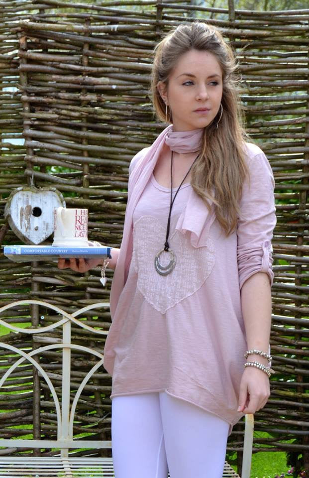 Sienna Soft Cotton Sequin Heart Top With Scarf in Pink Made In italy By Feathers Of Italy One Size - Feathers Of Italy