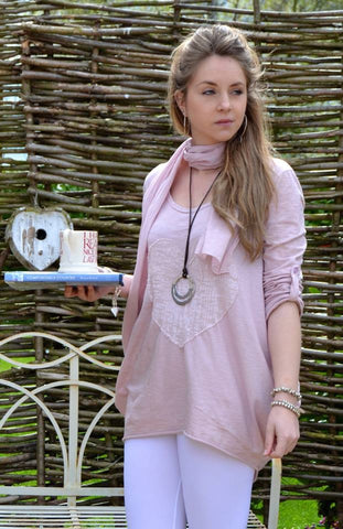 Sienna Soft Cotton Sequin Heart Top With Scarf in Pink Made In italy By Feathers Of Italy One Size