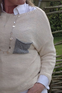 Ischia Patch Pocket Jumper in Cream - Feathers Of Italy