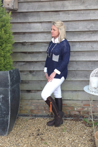 Ischia Patch Pocket Jumper in Navy - Feathers Of Italy
