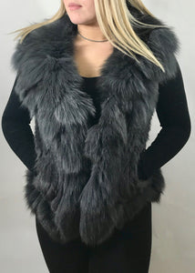 Luxury Fur Gilet in Slate Grey by Feathers Of Italy - Feathers Of Italy