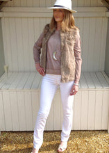 Load image into Gallery viewer, Fur Gilet in Mocha by Feathers Of Italy - Feathers Of Italy