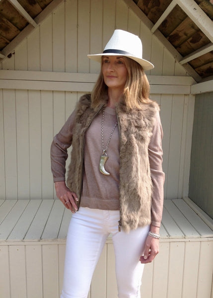 Fur Gilet in Mocha - Feathers Of Italy