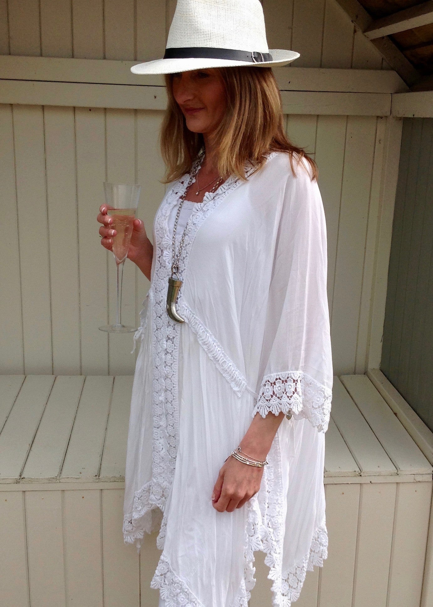 Sienna Lace Cotton Kimono in White Made In Italy By Feathers Of Italy One Size