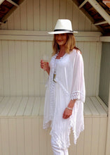 Load image into Gallery viewer, Sienna Lace Cotton Kimono in White Made In Italy By Feathers Of Italy One Size - Feathers Of Italy