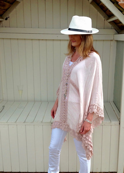 Sienna Lace Cotton Kimono in Pink Made In Italy By Feathers Of Italy One Size
